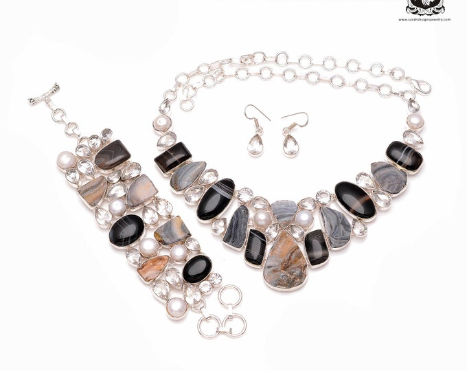 Great Mix of Colors! DESERT Drusy Banded Agate 925 Sterling Silver + Copper Bonded Necklace Bracelet & Earrings ALL Included SET503