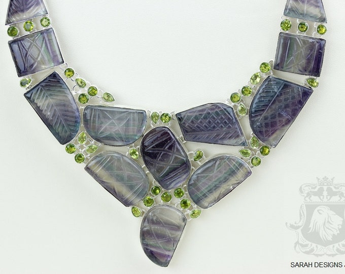 LARGE Size! Healing gemstone Carved FLUORITE Peridot 925 S0LID Sterling Silver Necklace N424