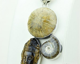 Sand Dollar STARFISH Fossil Tiger's Eye Carved BUDDHA Ammonite 925 S0LID Sterling Silver Pendant + 4MM Chain & Free Worldwide Shipping MP159