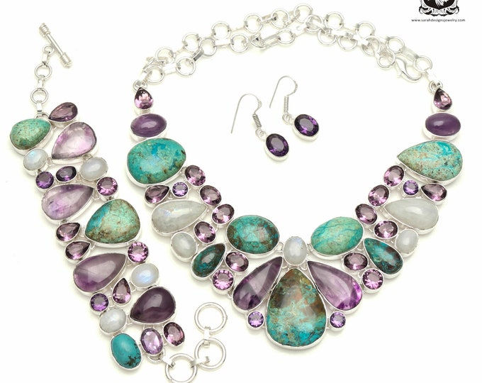 DON'T Let this Go! SHATTUCKITE Azurite Amethyst 925 Sterling Silver + Copper Bonded Necklace Bracelet & Earrings ALL Included SET526