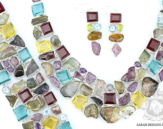 AFGHAN WATTERMELON TOURMALINE 925 Solid Sterling Silver Necklace Set 112