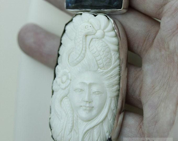 LABRADORITE DEER Totem Deer Antler Bone Carving 925 S0LID Sterling Silver Pendant + 4MM Snake Chain & Free Worldwide Express Shipping c60