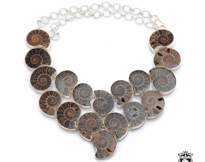 Creativity At Work! Multi Layered Dense Pattern Symmetrical MADAGASCAR AMMONITE Fossil 925 Sterling Silver + Copper Bonded Necklace N0051