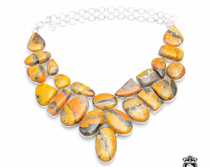 Genuine NOT treated Indonesian BUMBLEBEE JASPER Large Size 925 Sterling Silver + Copper Bonded Necklace & Worldwide Express Shipping N0063