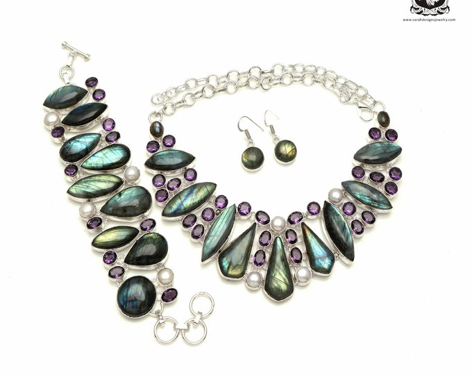 To buy or not to buy (TO BUY)! Canadian Labradorite 925 Sterling Silver + Copper Bonded Necklace Bracelet & Earrings ALL Included SET555