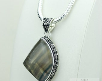 Fluorite Vintage Filigree Setting 925 S0LID Sterling Silver Pendant + 4mm Snake Chain & FREE Shipping p3208