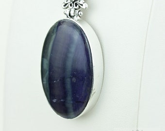Fluorite 925 S0LID Sterling Silver Pendant + 4MM Snake Chain  p3661