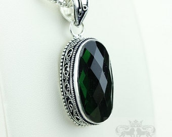 Green Quartz Vintage Filigree Setting 925 S0LID Sterling Silver Pendant + 4mm Snake Chain p2924