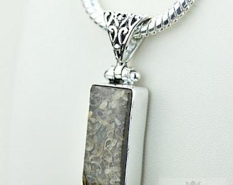 Turritella Agate 925 S0LID Sterling Silver Pendant + 4MM Snake Chain  p3551