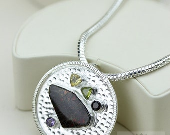 Round Shaped! GENUINE Canadian AMMOLITE 925 Solid Sterling Silver Pendant + 4mm Snake Chain & FREE Worldwide Shipping P1557