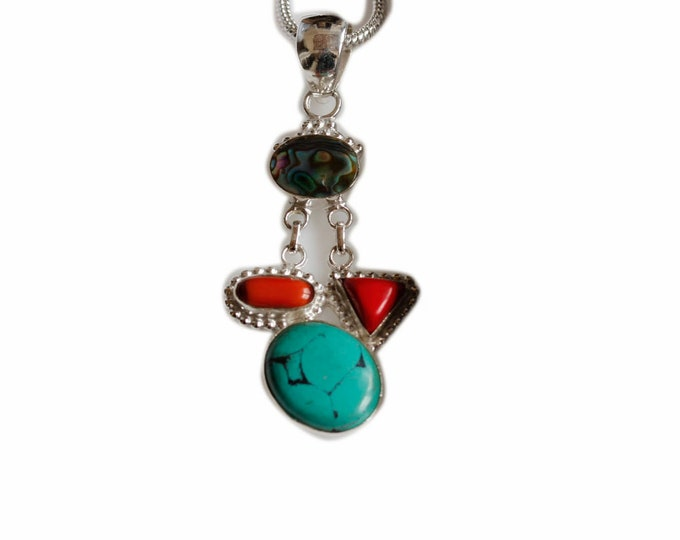 Turquoise Coral Abalone 925 Sterling Silver + BONDED Copper Pendant Chain & Worldwide Shipping p4468