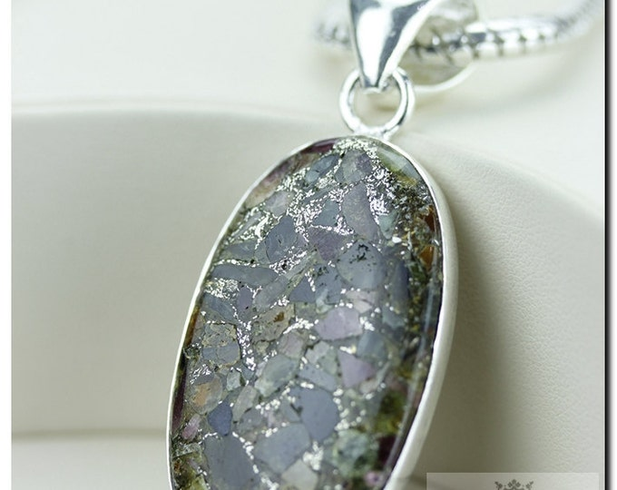 Watermelon Tourmaline in Pyrite Mineral Formation 925 SOLID Sterling Silver Pendant + 4mm Snake Chain