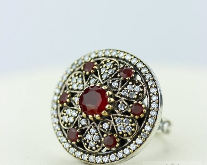 Size 7 Ruby Victorian Estate (Nickel Free) 925 Sterling Silver Ring r1965