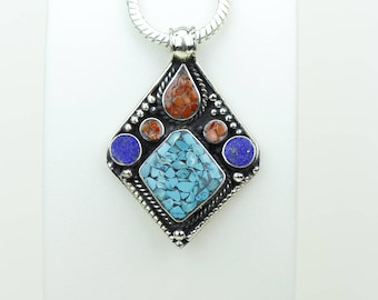 Casual Wear! Lapis Coral Turquoise Native Tribal Ethnic Vintage Nepal Tibetan Jewelry OXIDIZED Silver Pendant + Chain P3996