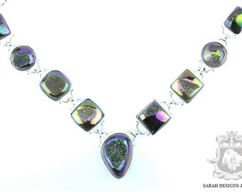 Reduced to Clear! Titanium Window DRUSY DRUZY 925 Solid Sterling Silver NECKLACE N252