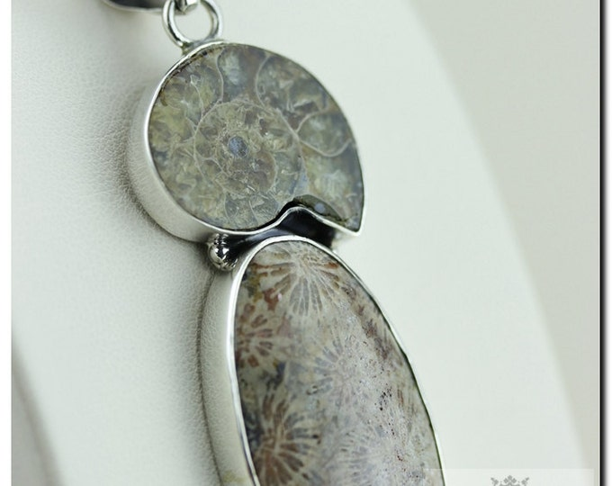 Made in Italy! Earthy Tone Fossilized Coral Jurassic Ammonite 925 SOLID Sterling Silver Pendant + 4mm Snake Chain & FREE Worldwide Shipping
