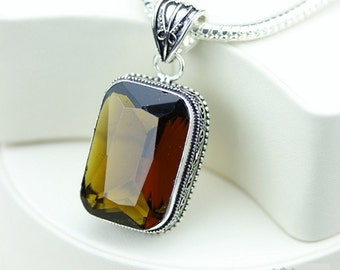 IRRADIATED Darker Tone Citrine  VINTAGE Style Setting 925 S0LID Sterling Silver Pendant + 4MM Snake Chain & FREE Worldwide Shipping P3244