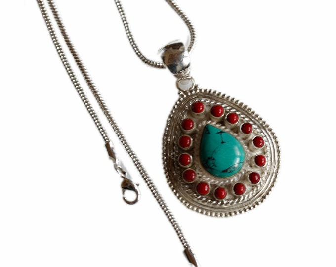 Tear Drop Tibetan Turquoise Coral Crafted 925 Sterling Silver + BONDED Copper Pendant Chain & Worldwide Shipping p4473