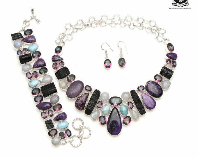 Keeping it Cool! CHAROITE Larimar Mystic Topaz 925 Sterling Silver + Copper Bonded Necklace Bracelet & Earrings ALL Included SET584