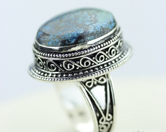 SIZE 9 CHRYSOCOLLA 925 S0LID (Nickel Free) Sterling Silver Vintage Setting Ring  r1885