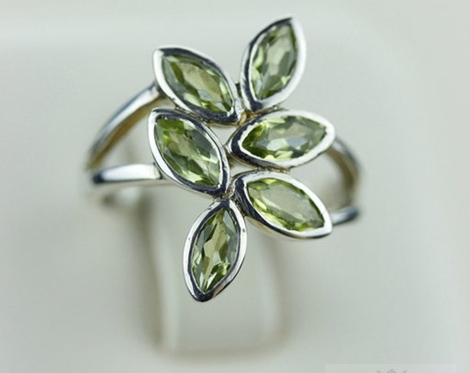 Size 5 MULTI LAYER PERIDOT (Nickel Free) 925 Fine S0LID Sterling Silver Ring & Free Worldwide Express Shipping r853