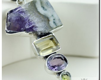 Made in Italy! Amethyst Geode Stalactite Citrine 925 SOLID Sterling Silver Pendant + 4mm Snake Chain & FREE Worldwide Shipping