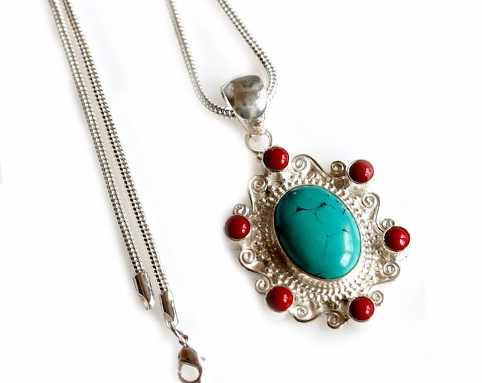 Vintage Filigree Turquoise Coral 925 Sterling Silver + BONDED Copper Pendant Chain & Worldwide Shipping p4469