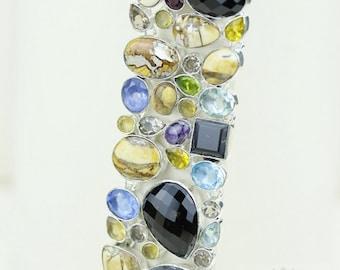 Stunning Combination! Smokey TOPAZ BRECCIATED Mookaite Blue Topaz 925 Solid Sterling Silver Bracelet B1340