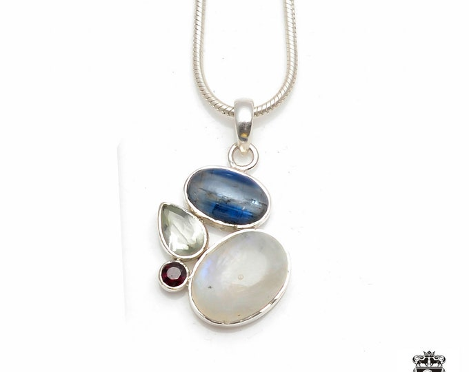 As cute as it can be! KYANITE Rainbow MOONSTONE Garnet PRASIOLITE Fine 925+ 975 S0LID Sterling Silver Pendant + Snake Chain P6027