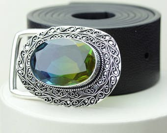 Stunning! CHROME TOURMALINE Vintage Filigree Antique 925 Fine S0LID Sterling Silver + Copper BELT Buckle T68