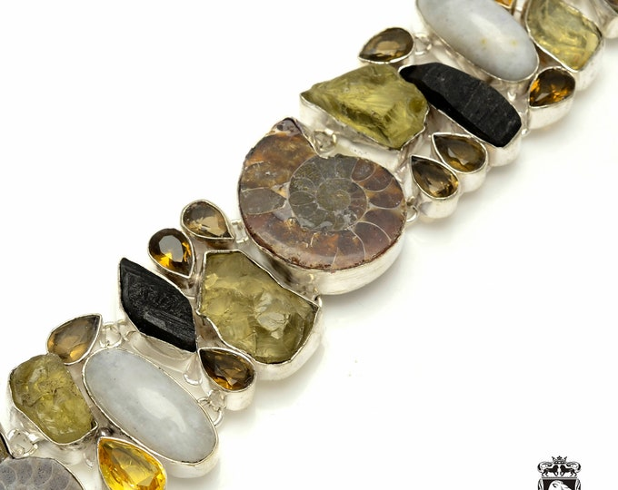 Can't let this go! Ammonite Fossil Citrine Moonstone 925 Sterling Silver + Copper Bonded Bracelet & Worldwide Express Tracked Shipping B3296