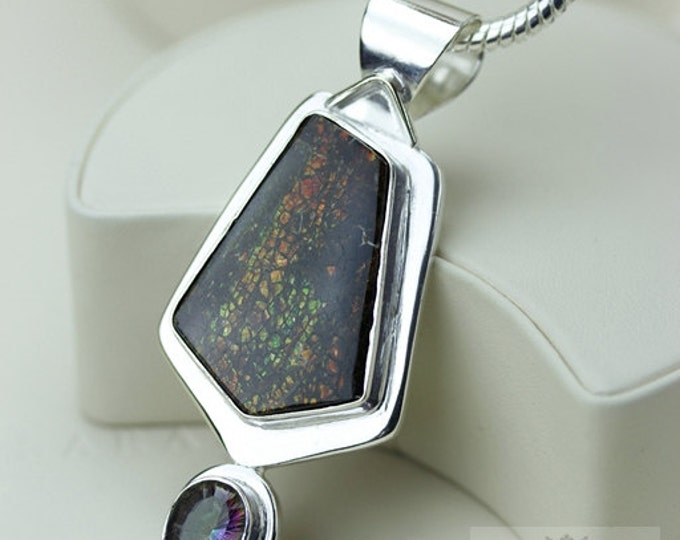 Thick Setting! Mystic Topaz GENUINE Canadian AMMOLITE 925 Solid Sterling Silver Pendant + 4mm Snake Chain & FREE Worldwide Shipping P1572