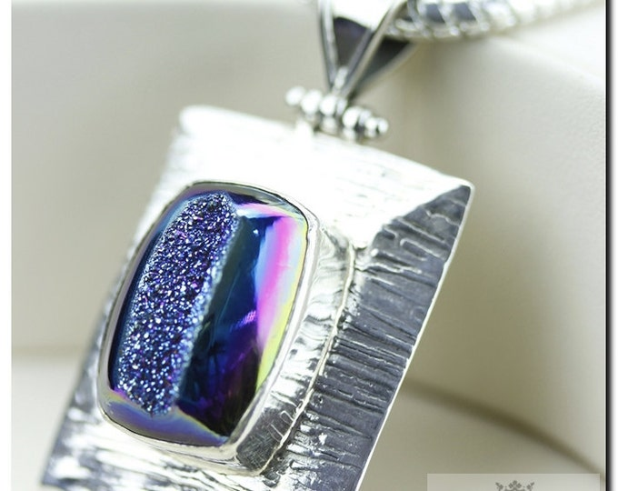 Metallic Titanium Drusy Druzy Italian Made 925 SOLID Sterling Silver Pendant & 4mm Snake Chain + FREE Worldwide Shipping