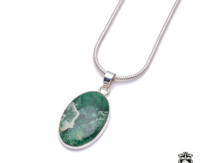 Bargain Deal! Russian VARISCITE Fine 925+ 975 S0LID Sterling Silver Pendant + Snake Chain P6340