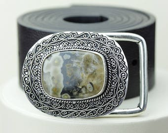 RHYOLITE Rainforest Jasper Vintage Filigree Antique 925 Fine S0LID Sterling Silver + Copper BELT Buckle T64