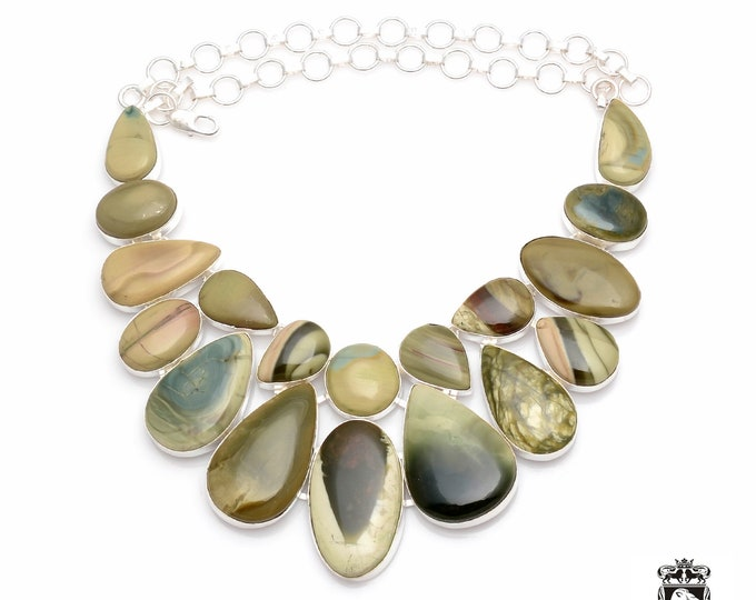 Can't Get Better! AAA Pattern Collective Arrangement of IMPERIAL JASPER 925 Sterling Silver + Copper Bonded Necklace N0069
