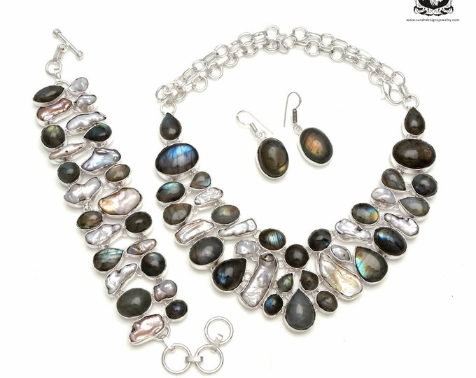 Get out there in style! PEARL Labradorite 925 Sterling Silver + Copper Bonded Necklace Bracelet & Earrings ALL Included SET572