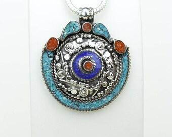 Stylish Desires! Lapis Coral Turquoise Native Tribal Ethnic Vintage Nepal Tibetan Jewelry OXIDIZED Silver Pendant + Chain P3954