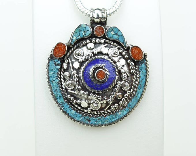 Stylish Desires! Lapis Coral Turquoise Native Tribal Ethnic Vintage Nepal Tibetan Jewelry OXIDIZED Silver Pendant + Chain P3954