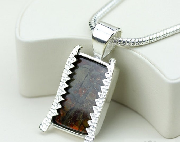 Thick Setting! GENUINE Canadian AMMOLITE 925 Solid Sterling Silver Pendant + 4mm Snake Chain & FREE Worldwide Shipping P1486