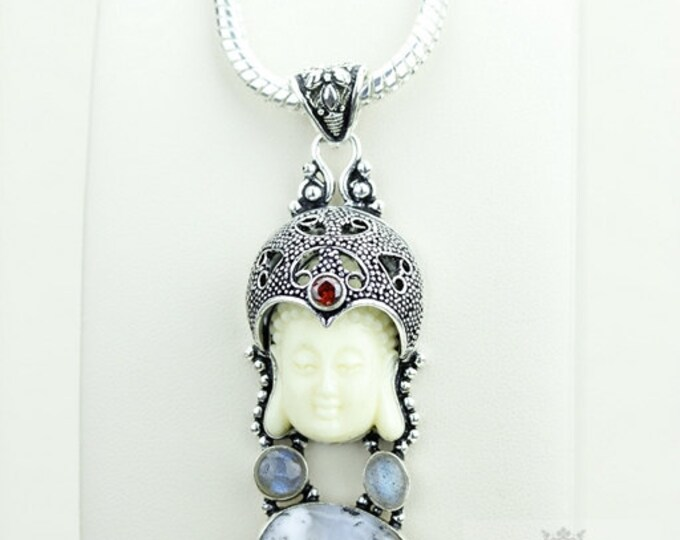 The Artsy Side! Kwan Yin Guanyin BUDDHA Goddess Face Moon Face 925 S0LID Sterling Silver Pendant + 4MM Chain & Free Shipping p3789
