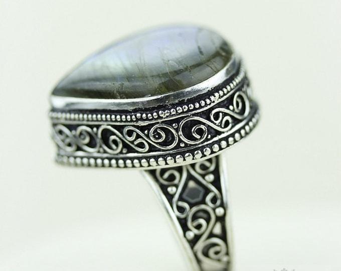 Size 9 Labradorite 925 S0LID (Nickel Free) Sterling Silver Vintage Setting Ring r1847