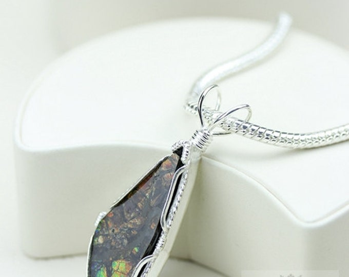 Wire Wrap Design! GENUINE Canadian AMMOLITE 925 Solid Sterling Silver Pendant + 4mm Snake Chain & FREE Worldwide Shipping P1562