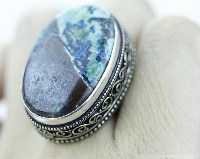 Size 8.5 CHRYSOCOLLA 925 S0LID (Nickel Free) Sterling Silver Vintage Setting Ring  r1816