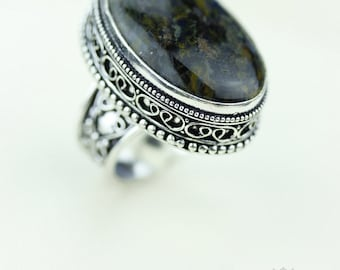 Size 8 - Namibian PIETERSITE 925 S0LID (Nickel Free) Sterling Silver Vintage Setting Ring & FREE Worldwide Express Shipping R1740