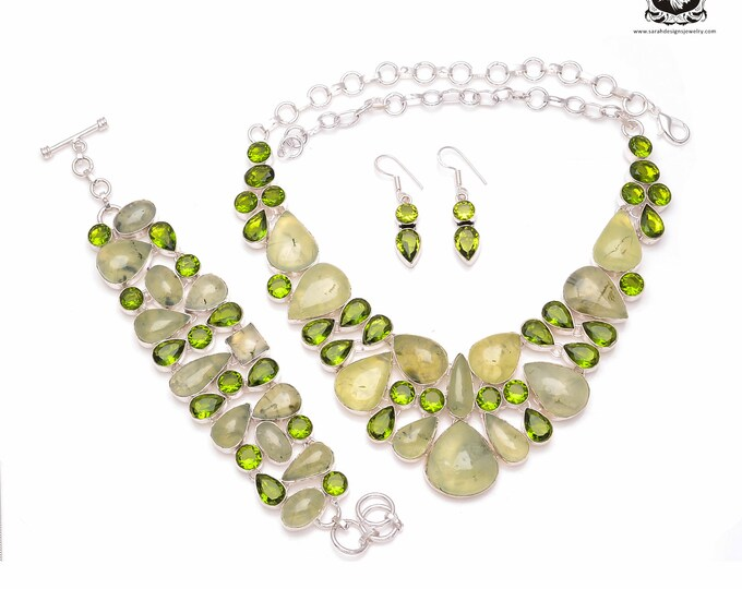 WOW Factor! Genuine South African PREHNITE Peridot 925 Sterling Silver + Copper Bonded Necklace Bracelet & Earrings ALL Included SET502