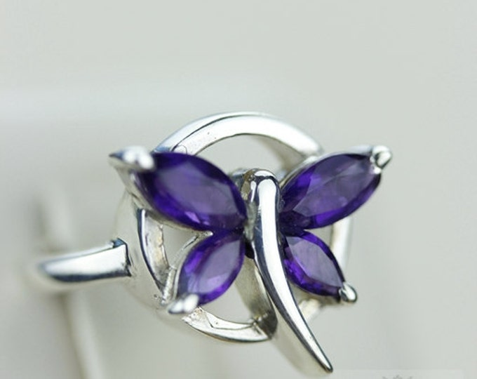 SIZE 5 BUTTERFLY AMETHYST (Nickel Free) 925 Fine S0LID Sterling Silver Ring & Free Worldwide Express Shipping r765