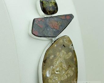 5 Inch OCEAN JASPER Amber GENUINE Canadian Ammolite 925 S0LID Sterling Silver Pendant + 4mm Snake Chain & Free Worldwide Shipping a36