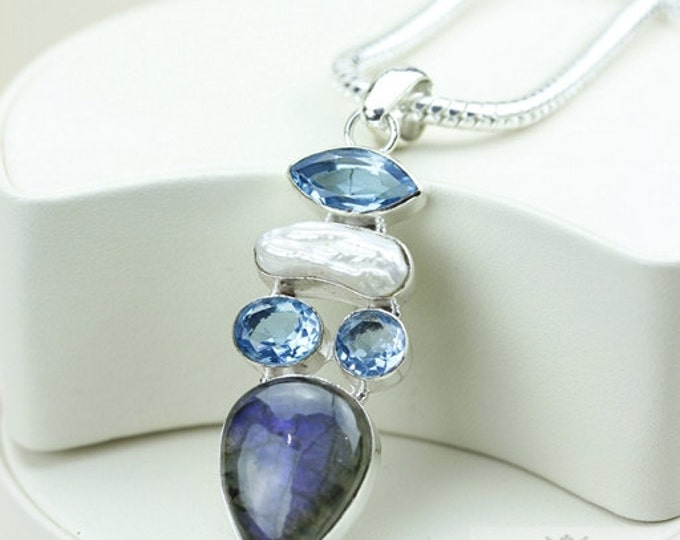 Labradorite Blue Topaz Pearl 925 S0LID Sterling Silver Pendant + 4mm Snake Chain & Free Worldwide Shipping p2949