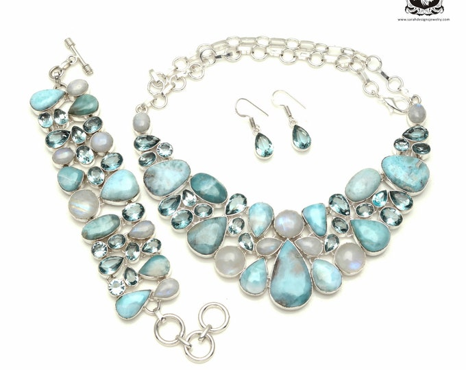 Fulfill YOUR Desire! LARIMAR Moonstone Blue Topaz 925 Sterling Silver + Copper Bonded Necklace Bracelet & Earrings ALL Included SET553